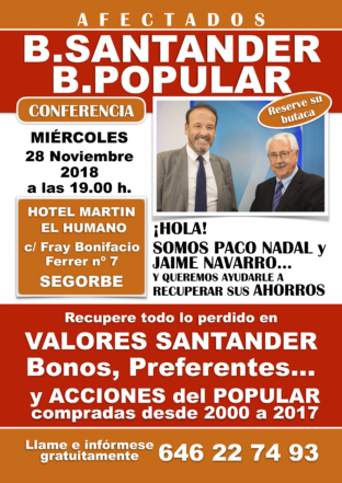 Conferencia afectados Banco Santander en Segorbe el próximo miércoles 28