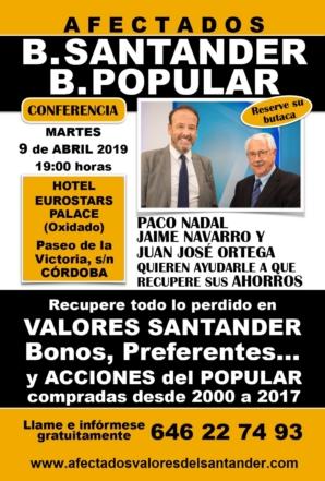 Conferencia el próximo 9 de abril en Córdoba