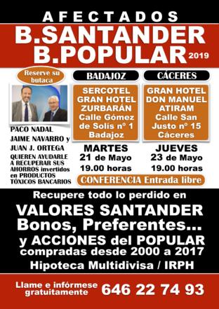 Jornadas de conferencias en Extremadura: 21 de mayo Badajoz y 23 de mayo Cáceres